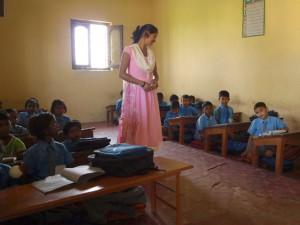 Une école à Bodh Gaya : salle de classe